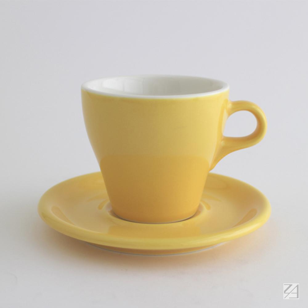日本ORIGAMI 摺紙咖啡陶瓷杯組 拿鐵杯 250ml (蛋黃色)