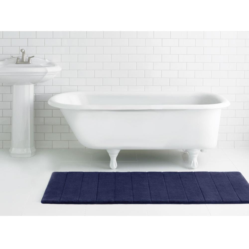 Microdry|舒適記憶綿浴墊-粉玫瑰/加長型(61x147cm)