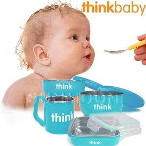 美國 Thinkbaby 無毒不鏽鋼餐具組-馬卡龍藍
