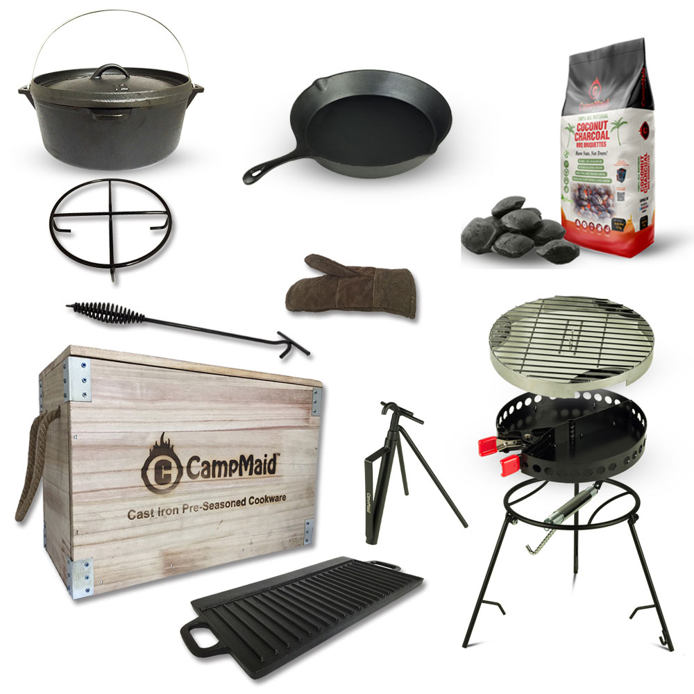 Campmaid|美國多功能戶外露營烤肉木箱(超值組)