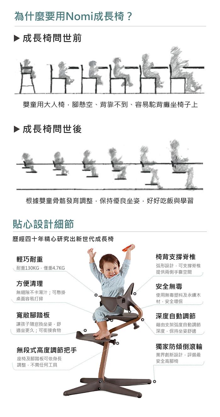 Nomi 丹麥多階段兒童成長學習調節椅(豪華組)- 咖啡色