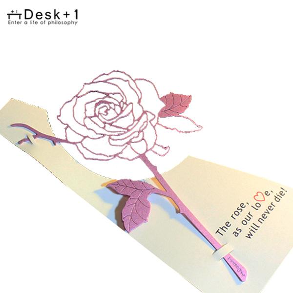 (複製)Desk+1│玫瑰書籤(紅+金)