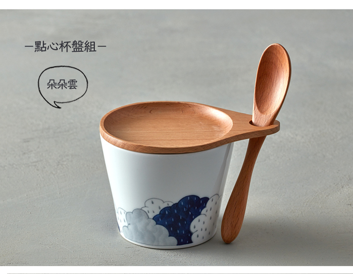 (複製)石丸波佐見燒 點心杯盤組 - 附匙 (3件式) - 小市松紋