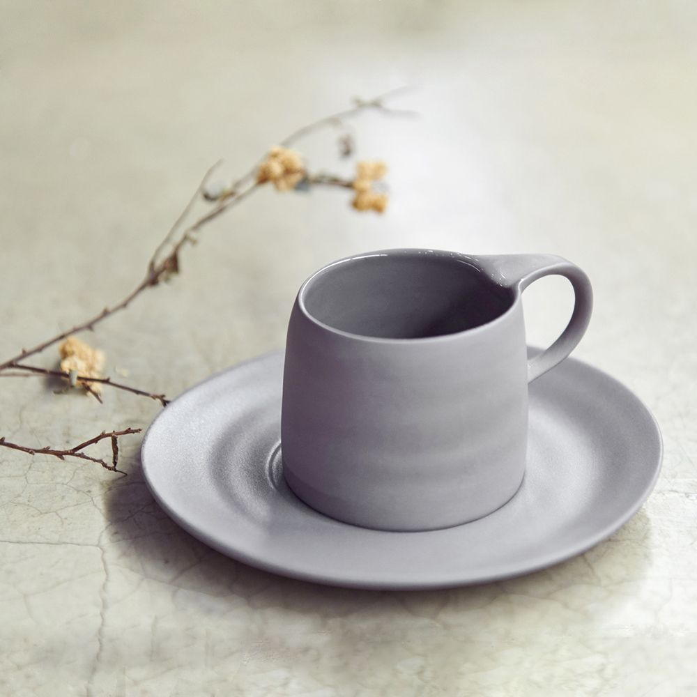 3,co│卡布奇諾杯碟組(2件式) - 灰