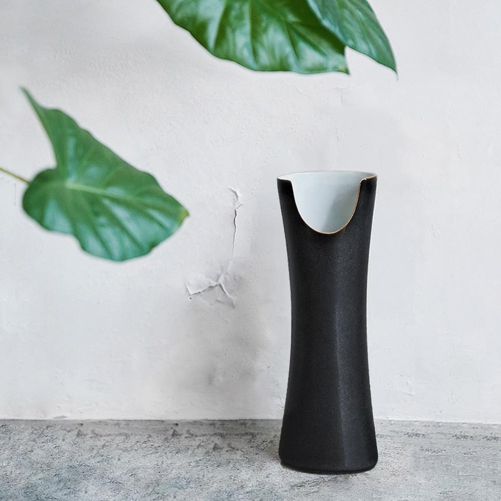 3,co│管狀花器 E - 日本黑(白色內層)