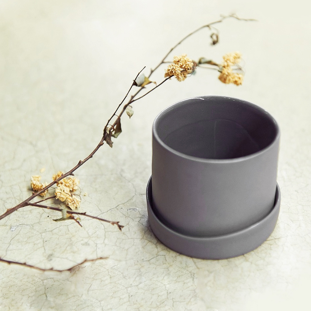 3,co│水波蓋杯(2件式) - 灰