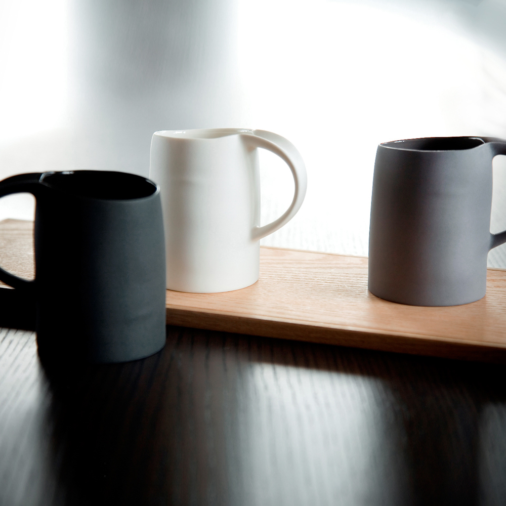 3,co│水波馬克杯禮盒組(2件式) - 白+灰