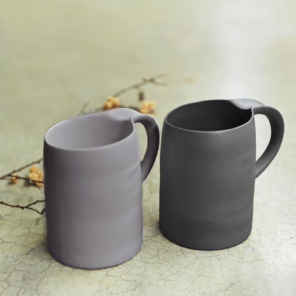 3,co│水波馬克杯禮盒組(2件式) - 灰+黑