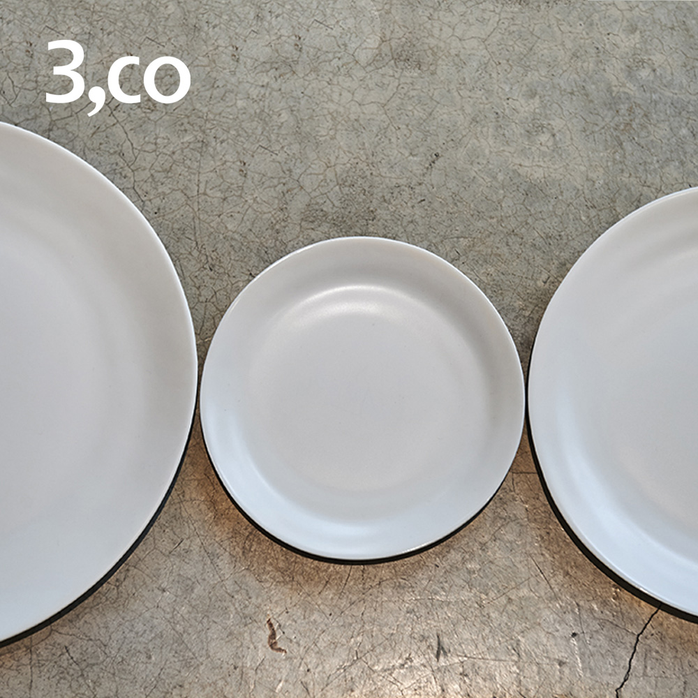 3,co│水波麵包盤(2件式) - 白+白