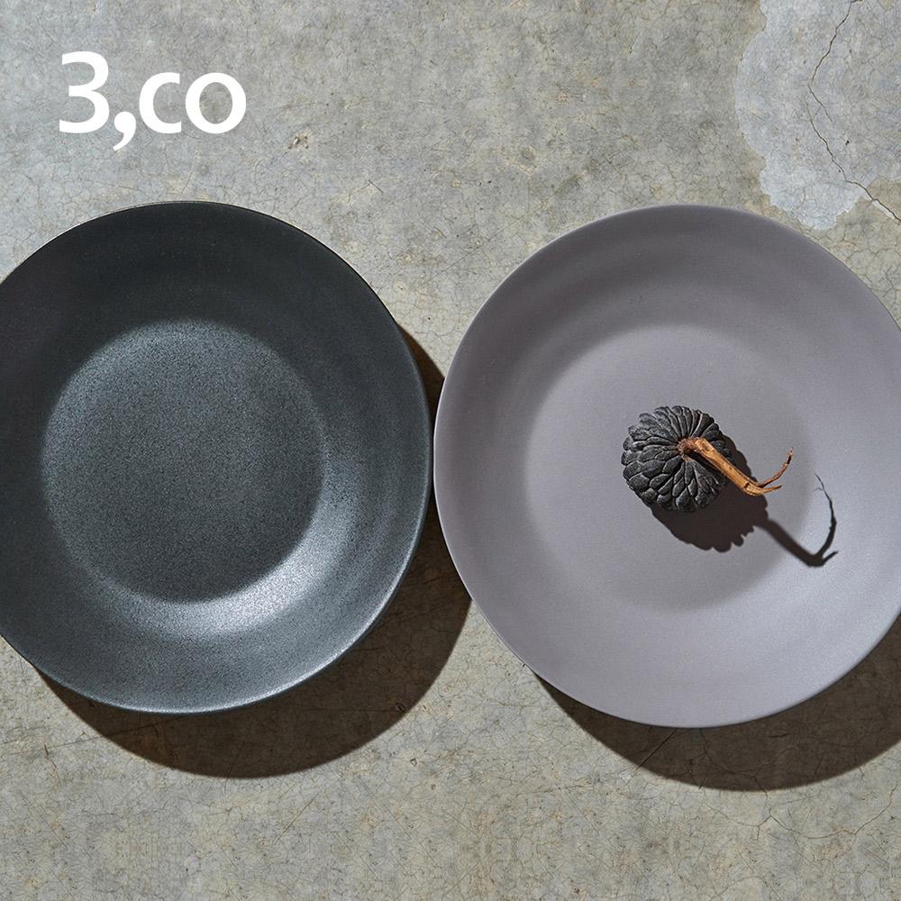 3,co│水波沙拉盤(2件式) - 灰+黑