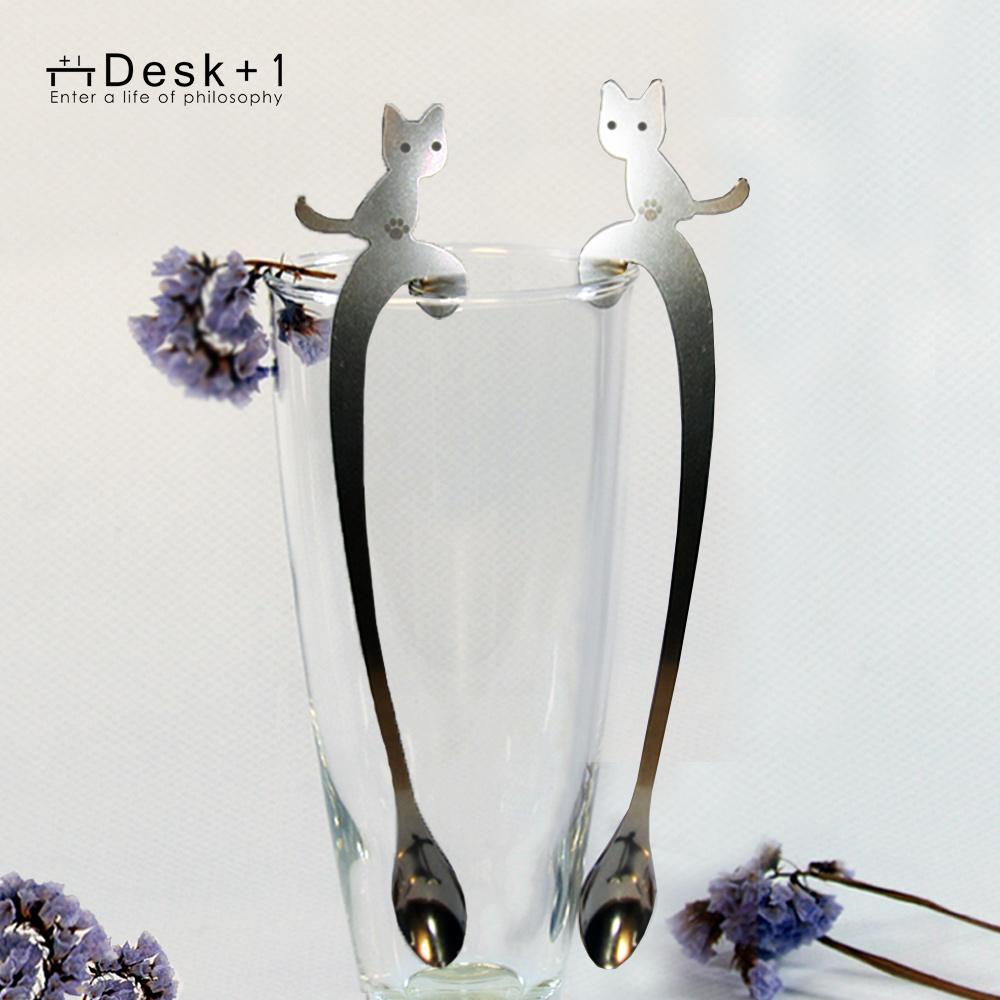 Desk+1|貓攪攪拌匙 - 長短腳之戀-四入組