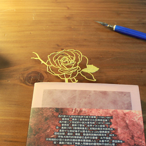 Desk+1|玫瑰書籤(紅+金)