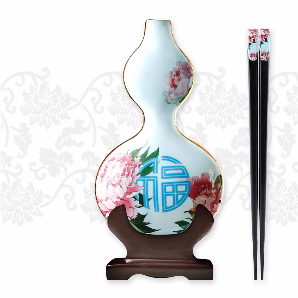 TALES 神話言│葫蘆醬碟筷架組(2件式)-福盛牡丹(春)