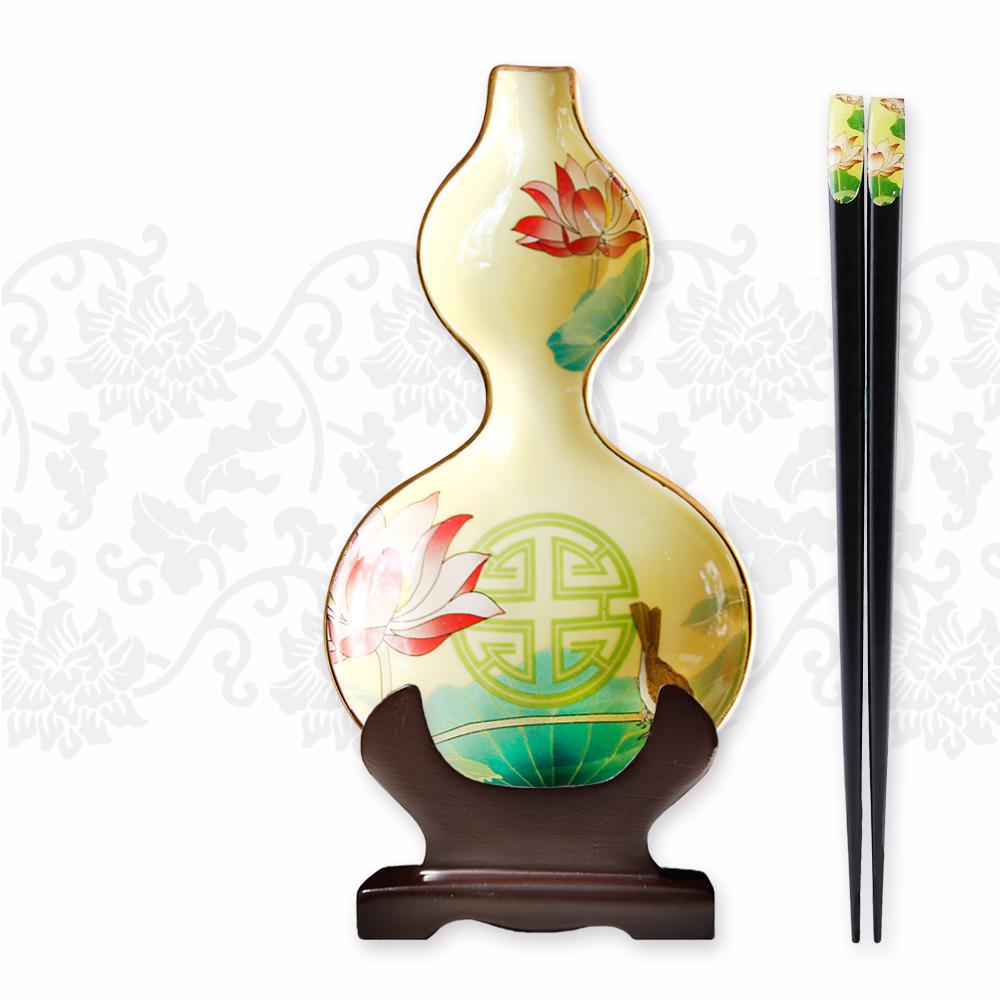 TALES 神話言│葫蘆醬碟筷架組(2件式)-祿冠清荷(夏)