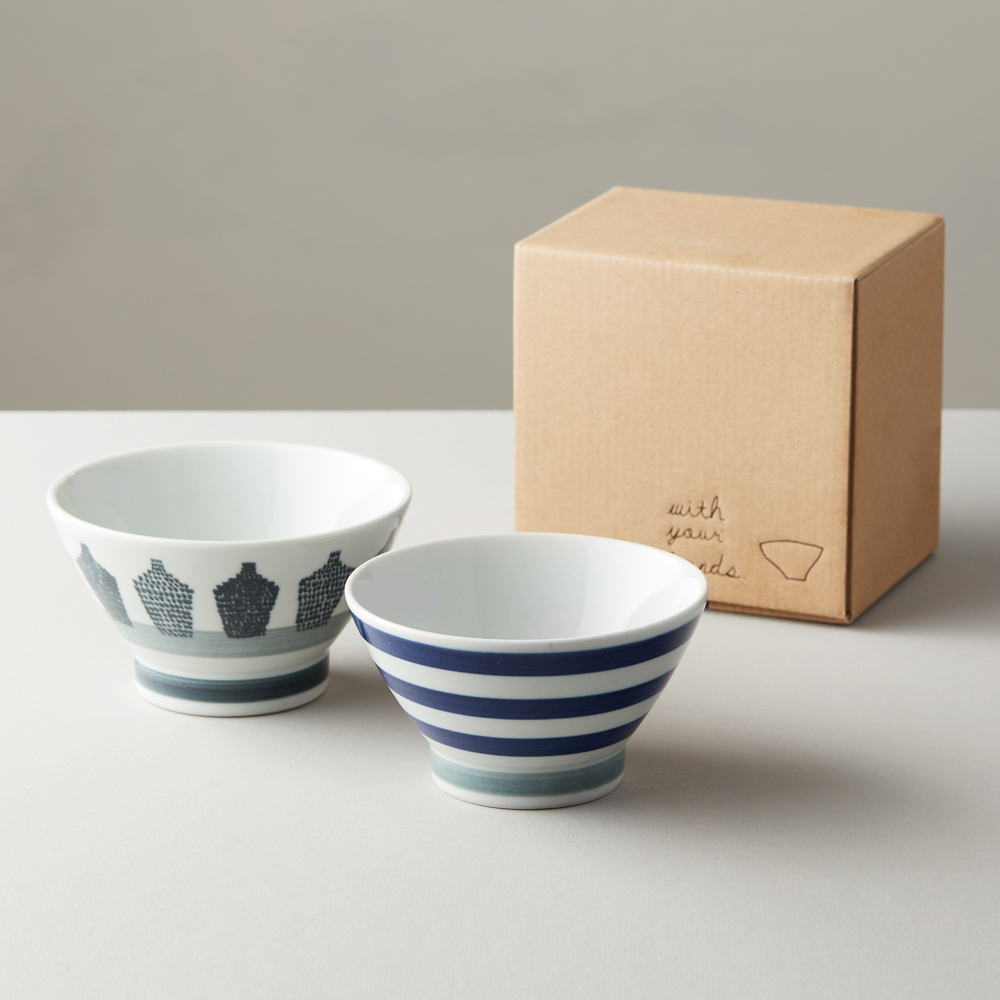 石丸波佐見燒  藍酒瓶 ● 藍紋夫妻碗(2件組)