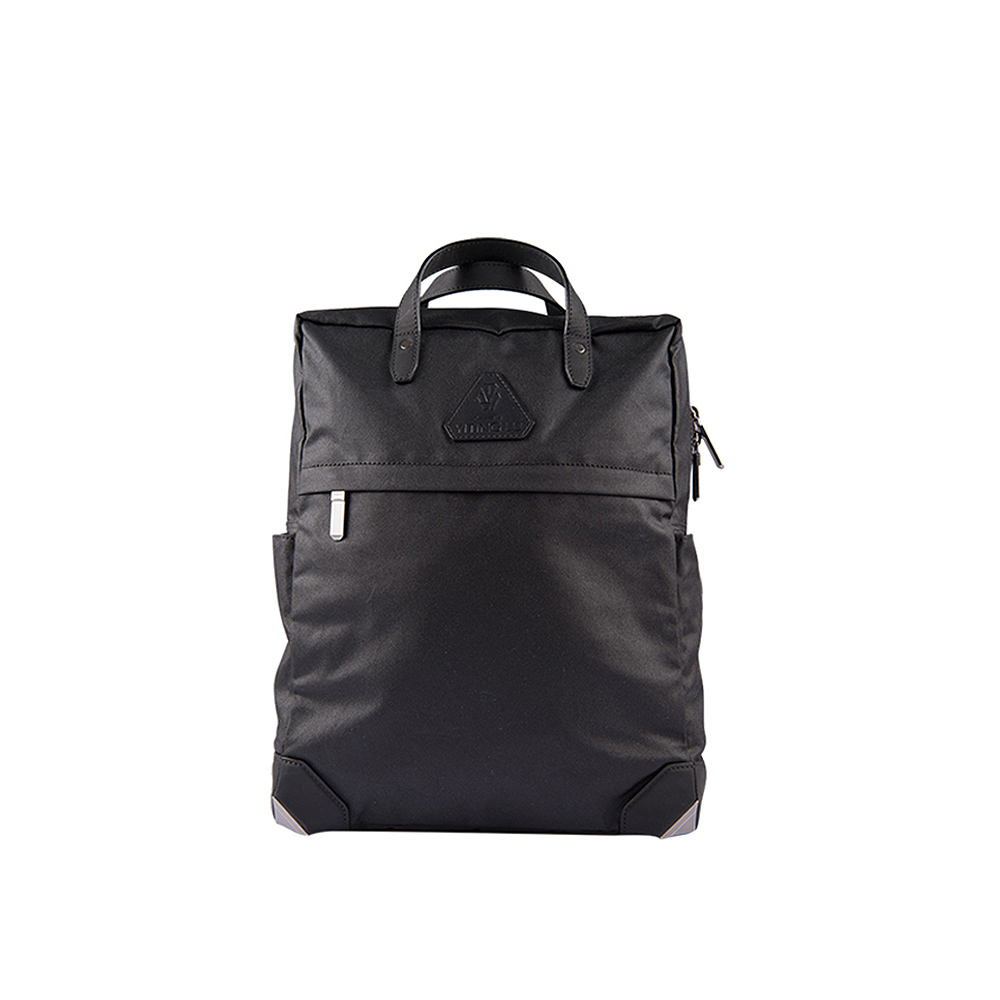 HANDOS|HERRY L. 防水帆布真皮後背包 - 霧黑