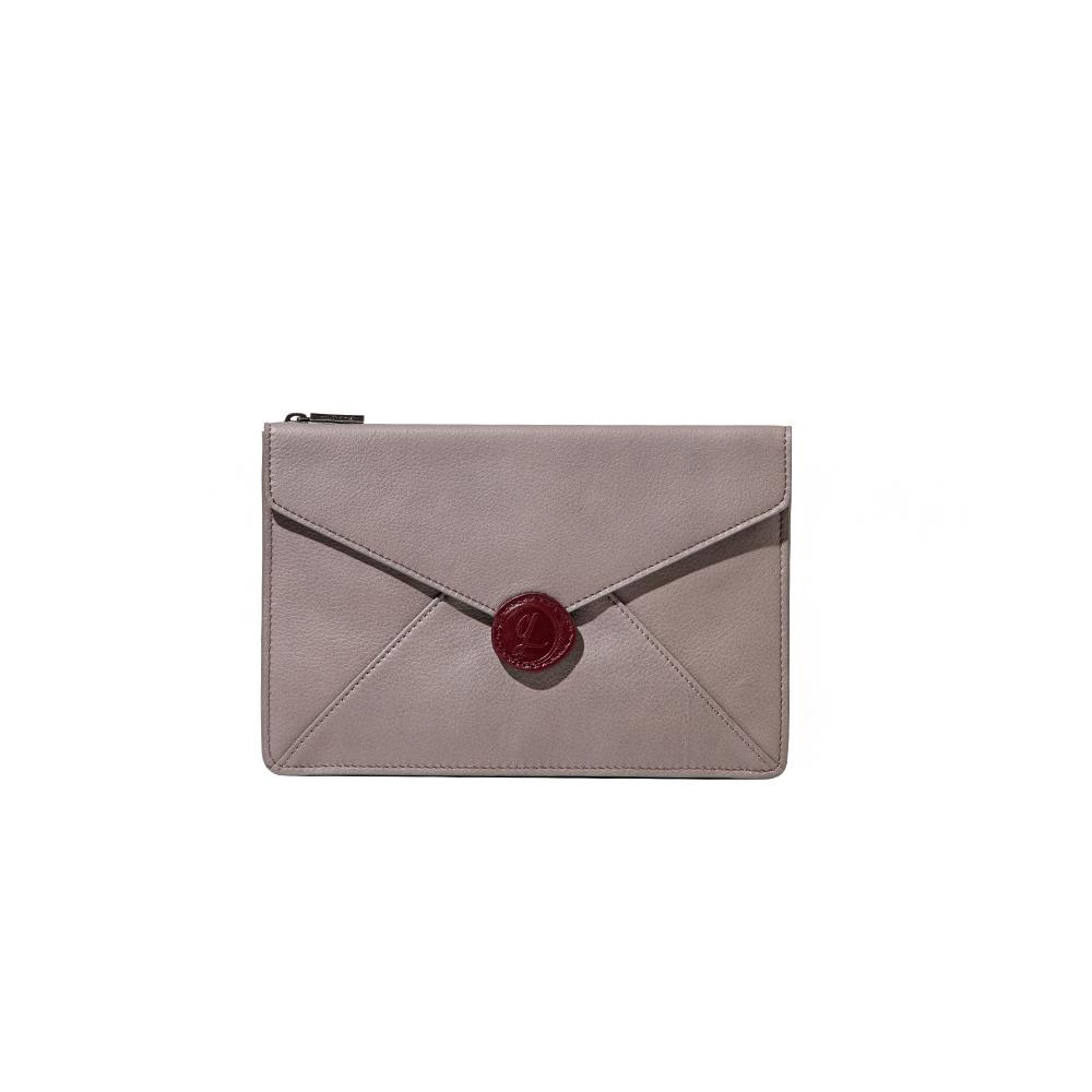 HANDOS Envelope 真皮信封手拿包 - 米灰
