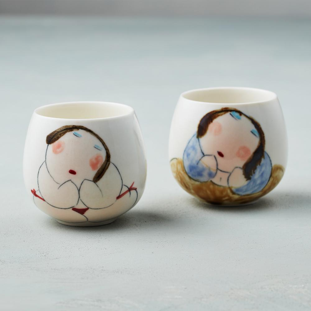 吳仲宗|胖太太系列 - 百合杯 - 玉潤珠圓 (雙件組)