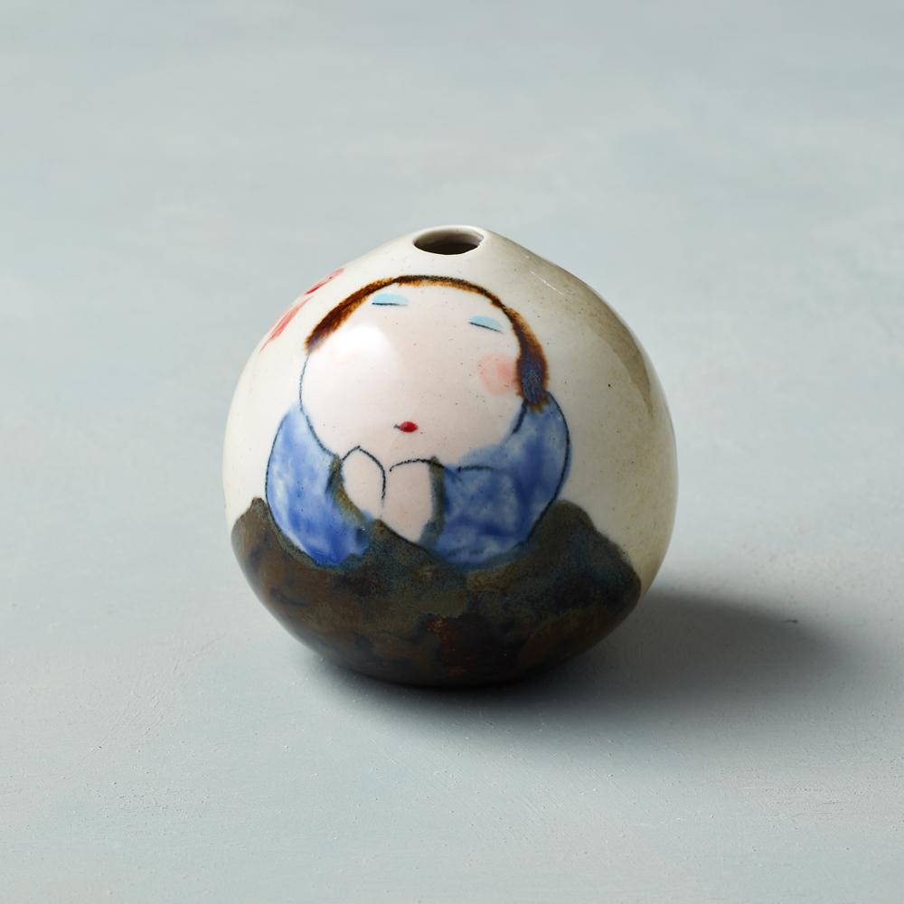 吳仲宗 胖太太系列 - 手做蛋瓶 - 秋茶色 (黛藍衣)