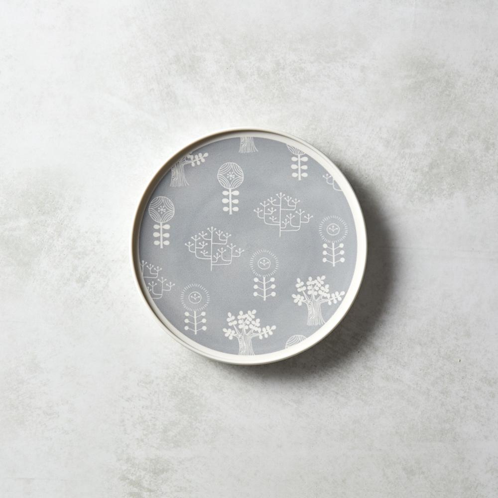 石丸波佐見燒 北歐花園淺盤 (小) - 薄霧灰