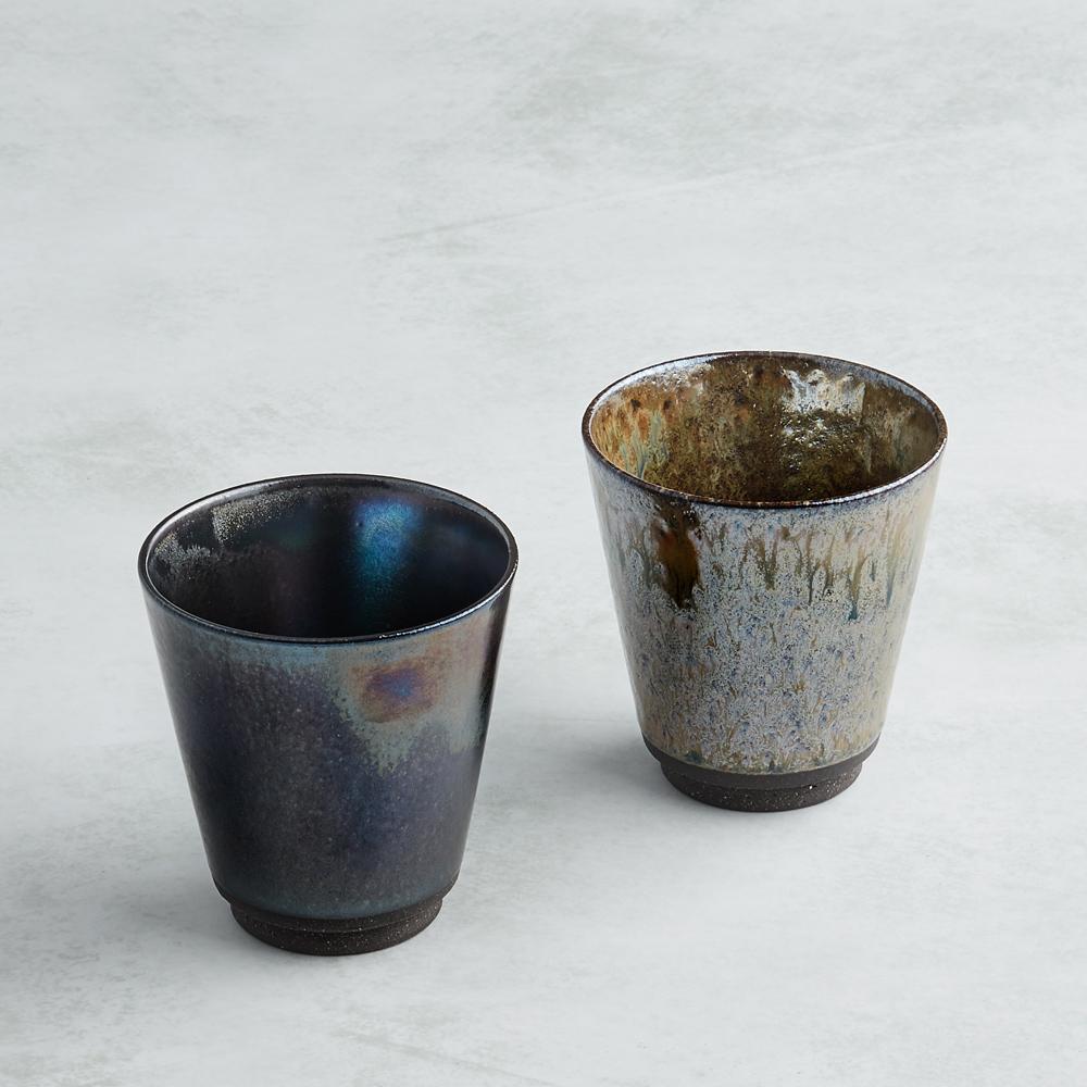 日本AWASAKA美濃燒 天川流光陶杯組 (2件式)