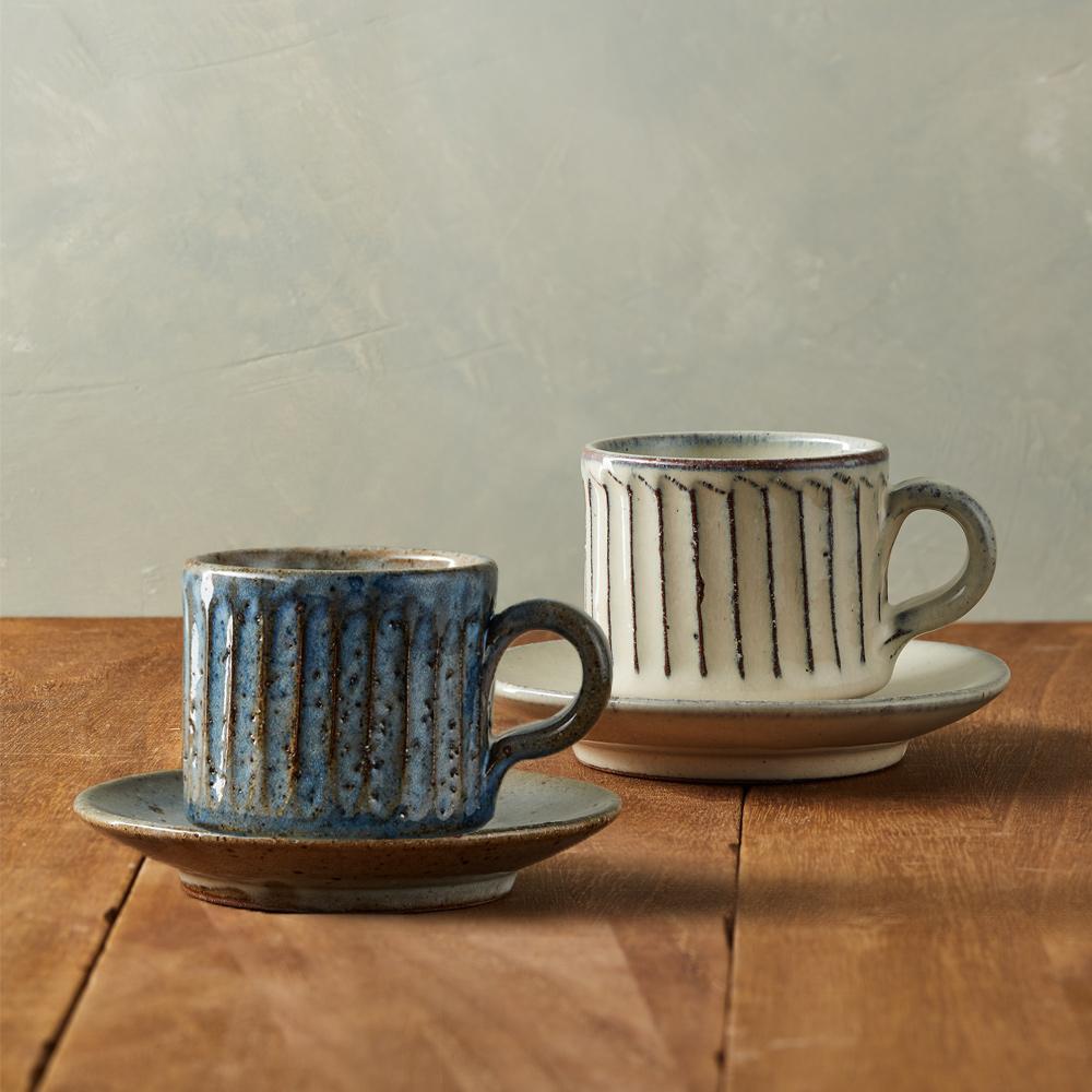 丸伊信樂燒 釉紋雕刻咖啡對杯組(4件式)