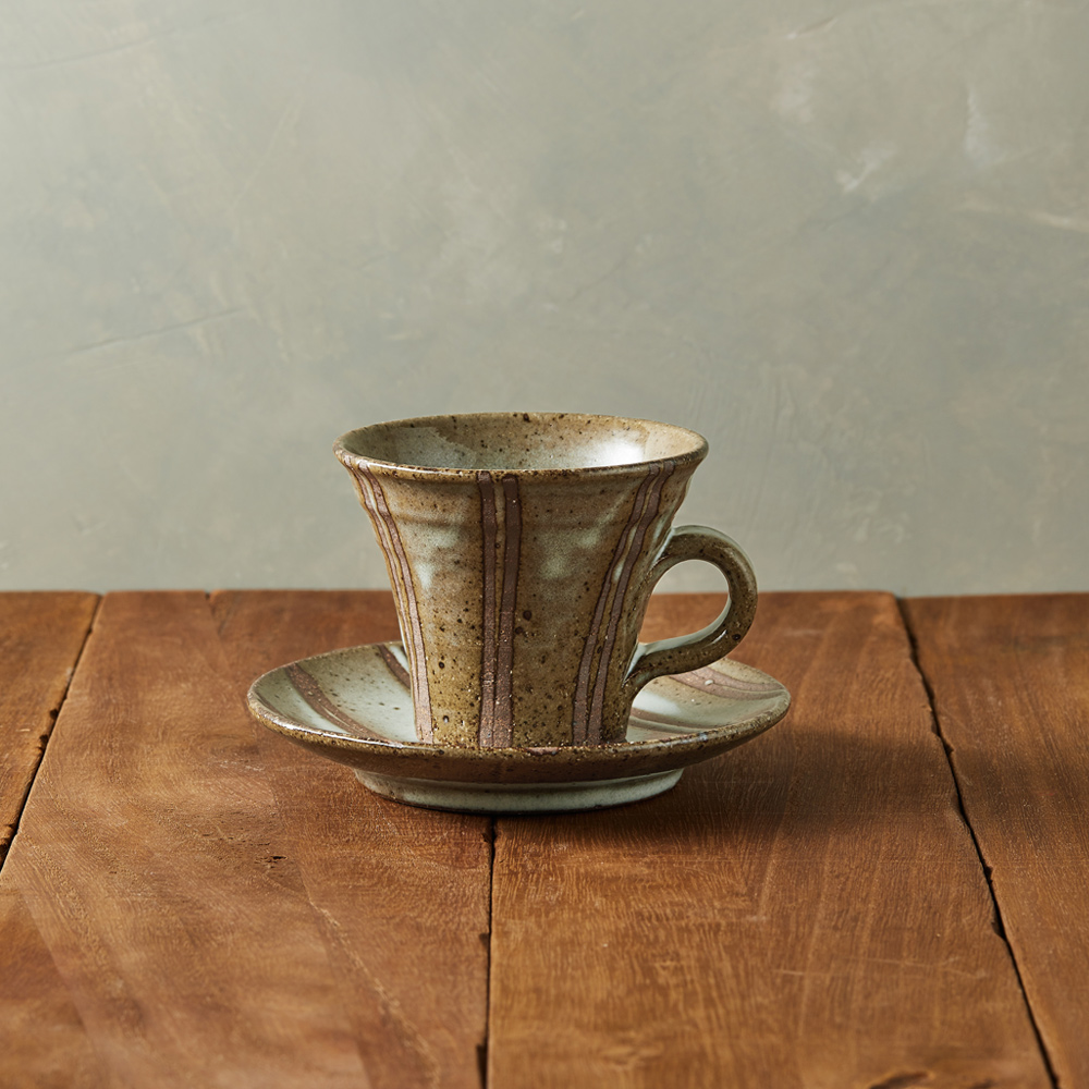 丸伊信樂燒|白萩立線咖啡杯碟組(2件式)