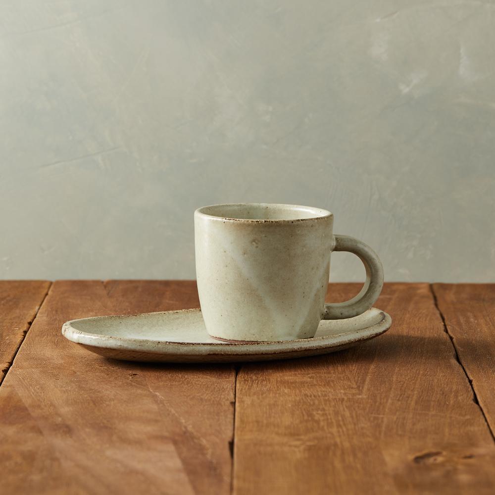 丸伊信樂燒|乳白咖啡杯碟組(2件式)