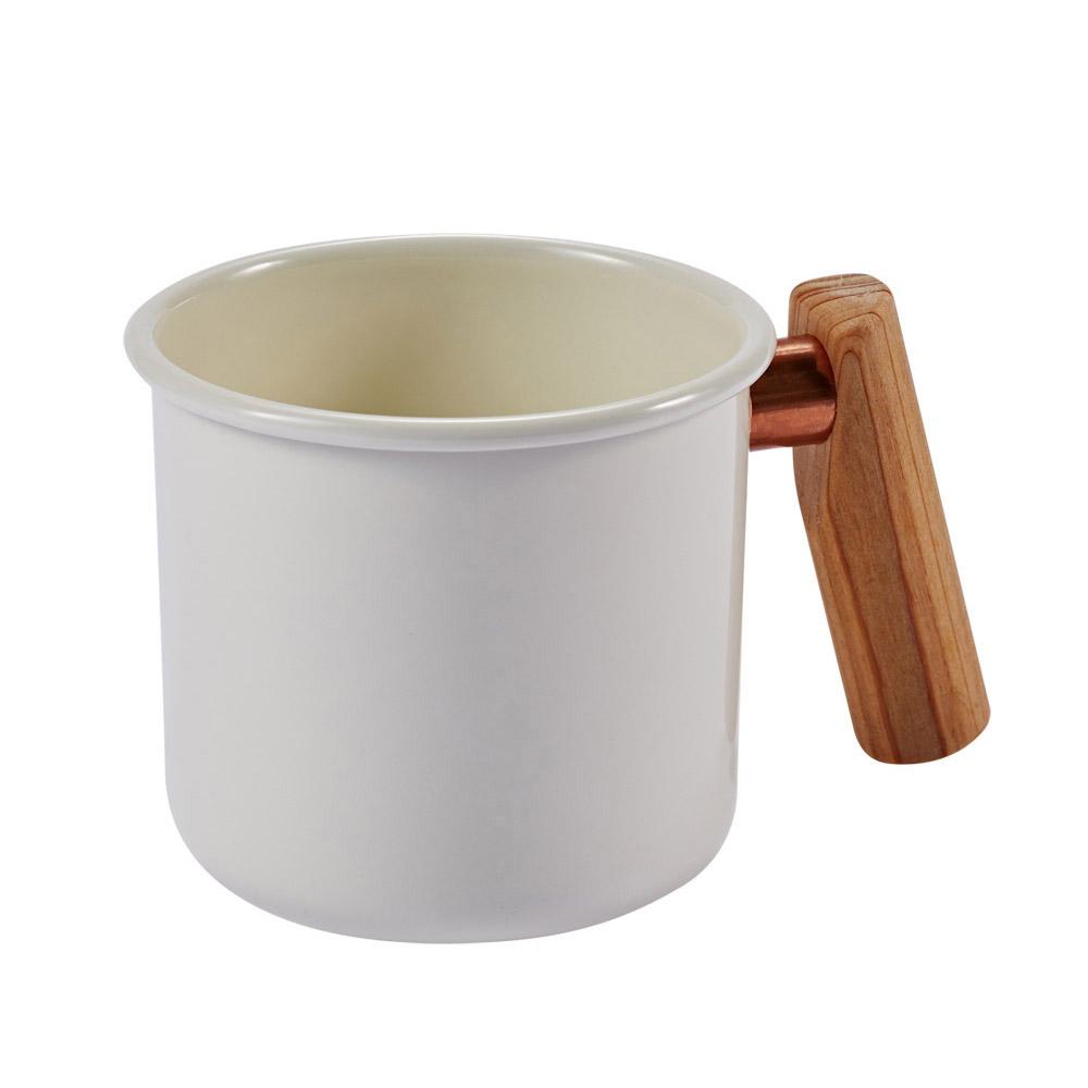 Truvii|月光白木柄琺瑯杯 400ml