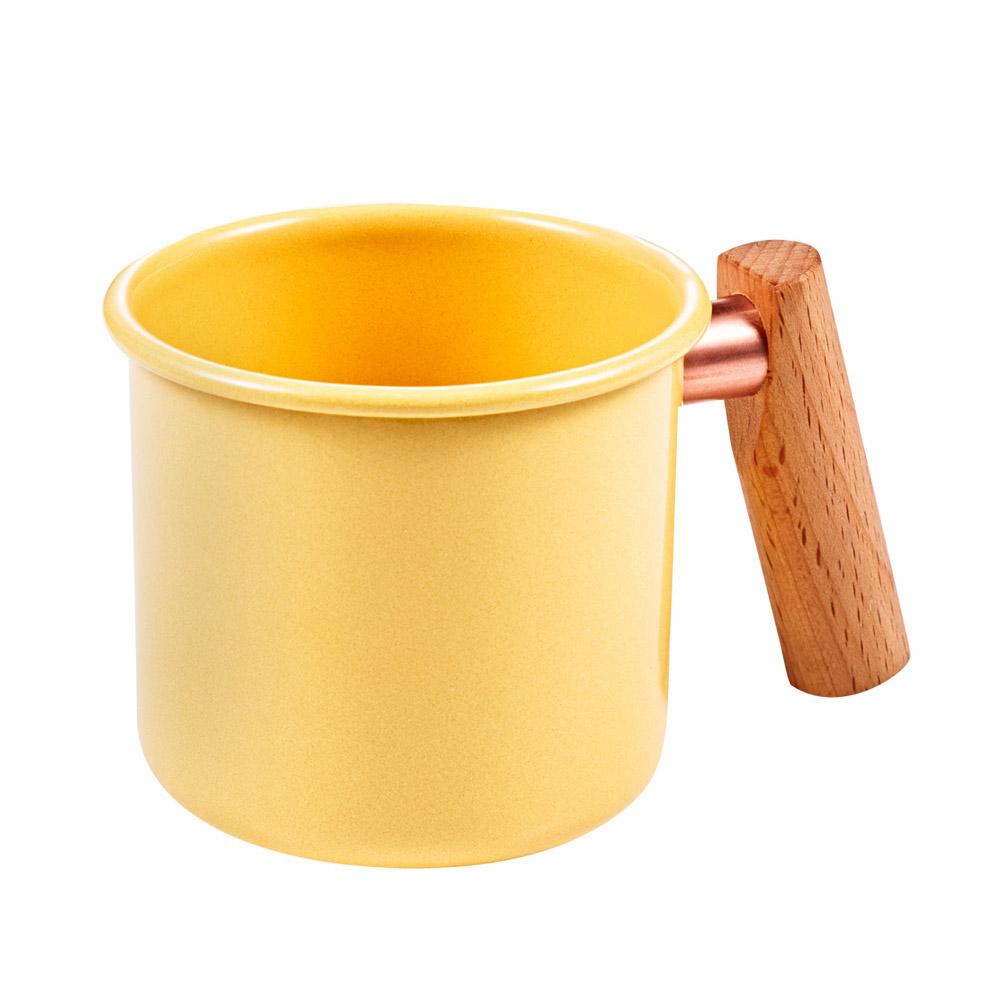Truvii|奶油黃木柄琺瑯杯 400ml