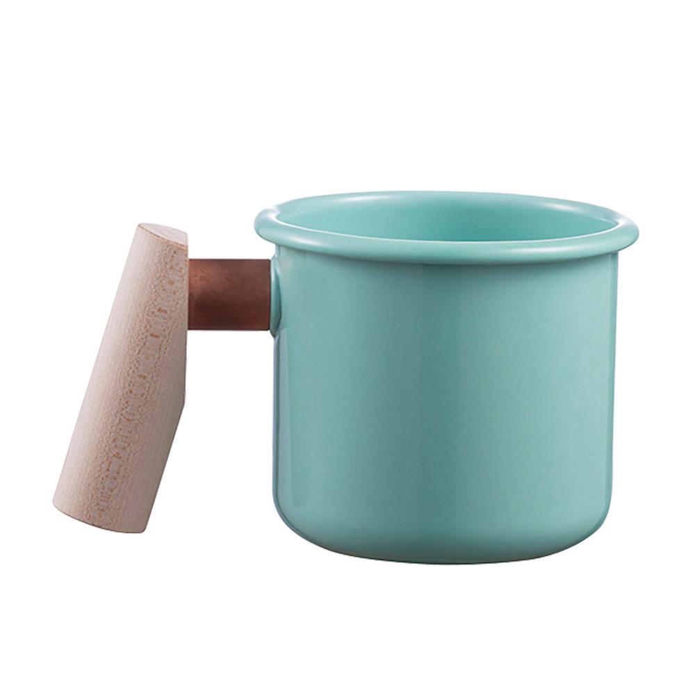 Truvii|湖水藍木柄琺瑯杯 400ml