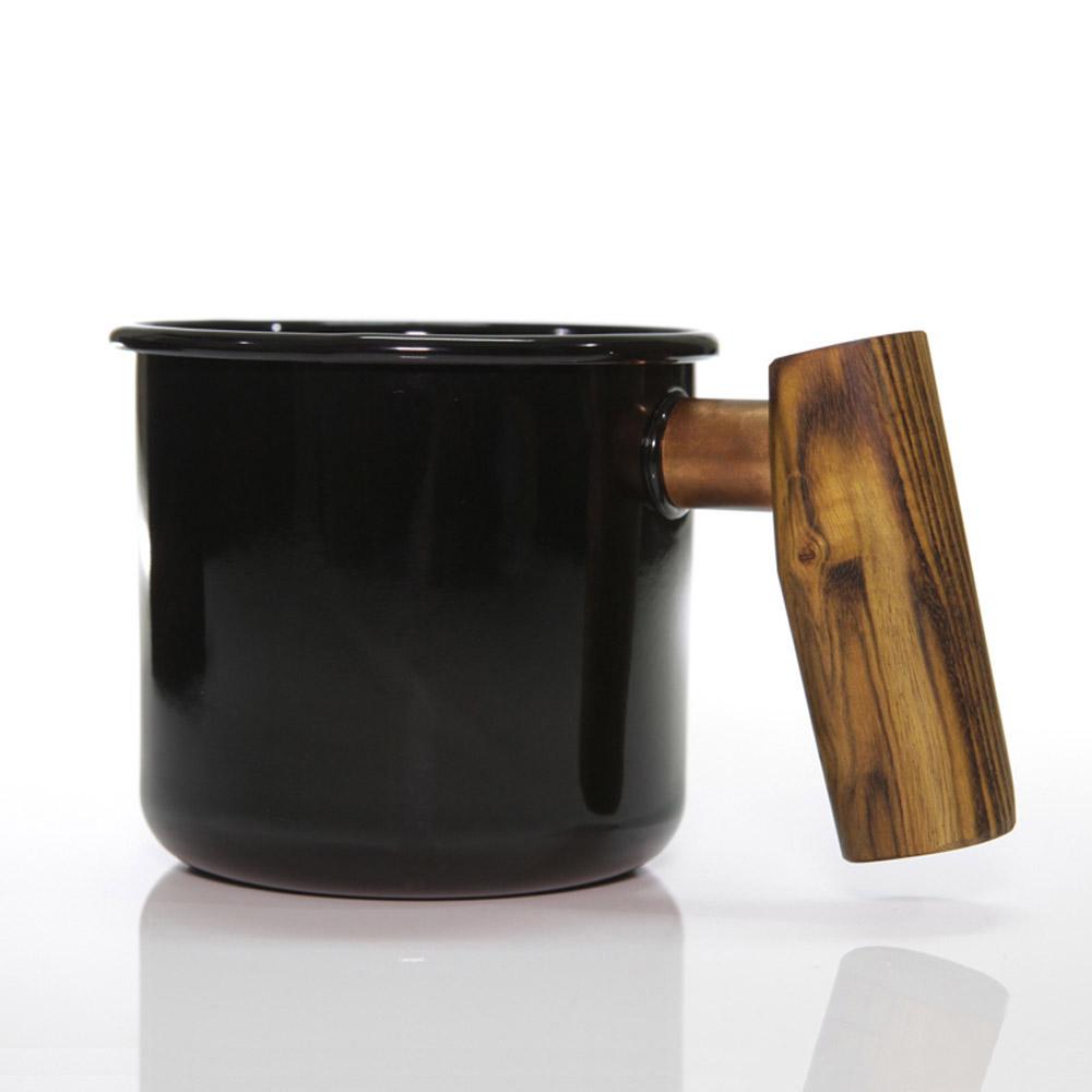 Truvii|經典黑黃連木柄琺瑯杯 400ml