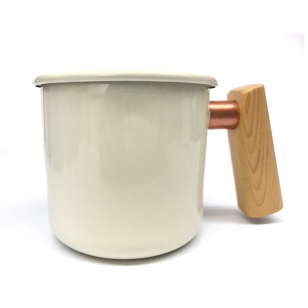 Truvii|月光白檜木柄琺瑯杯 400ml