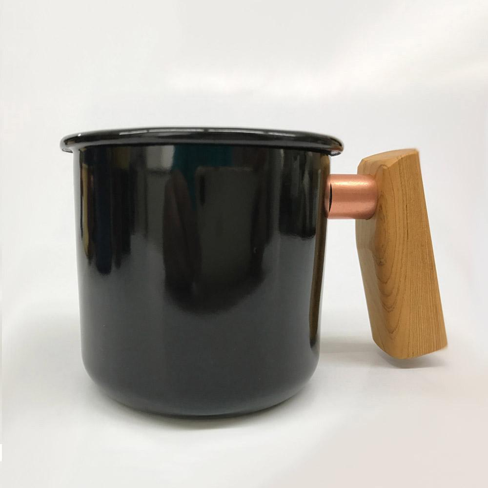 Truvii|經典黑檜木柄琺瑯杯 400ml