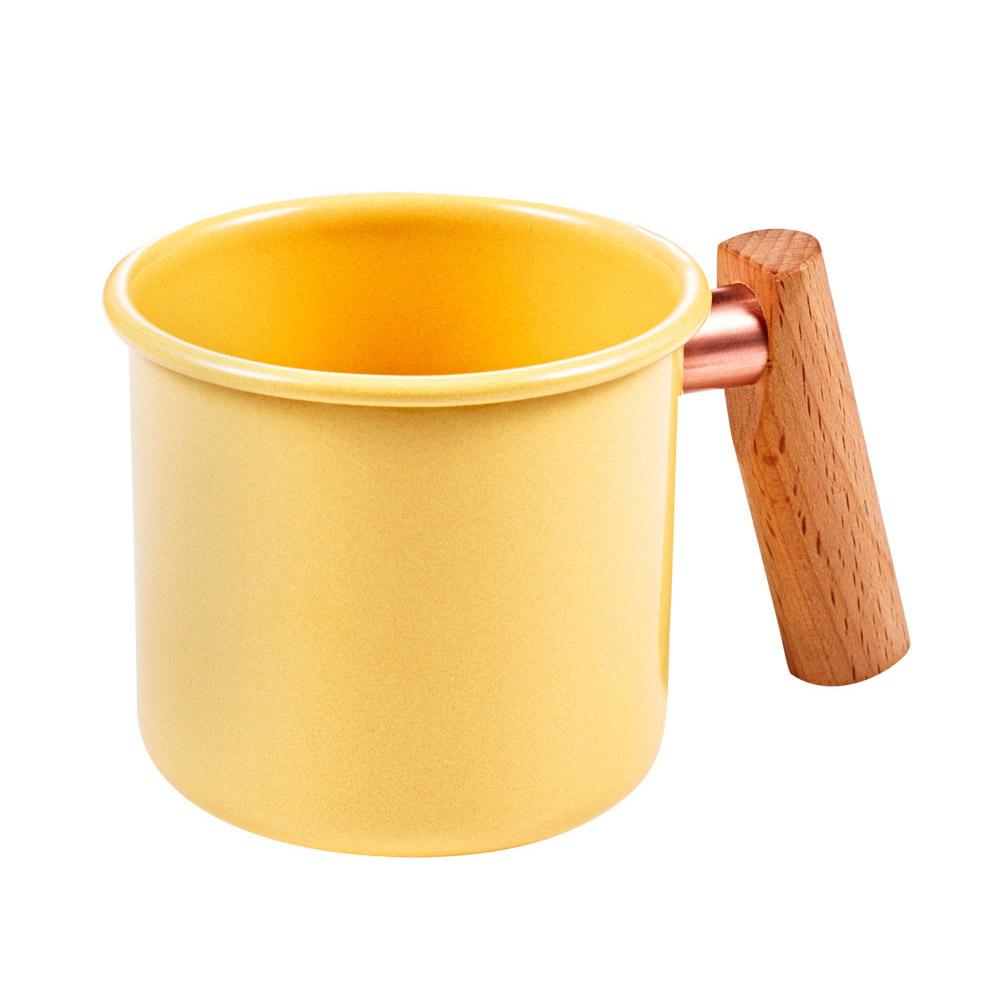 Truvii|奶油黃木柄琺瑯杯 250ml