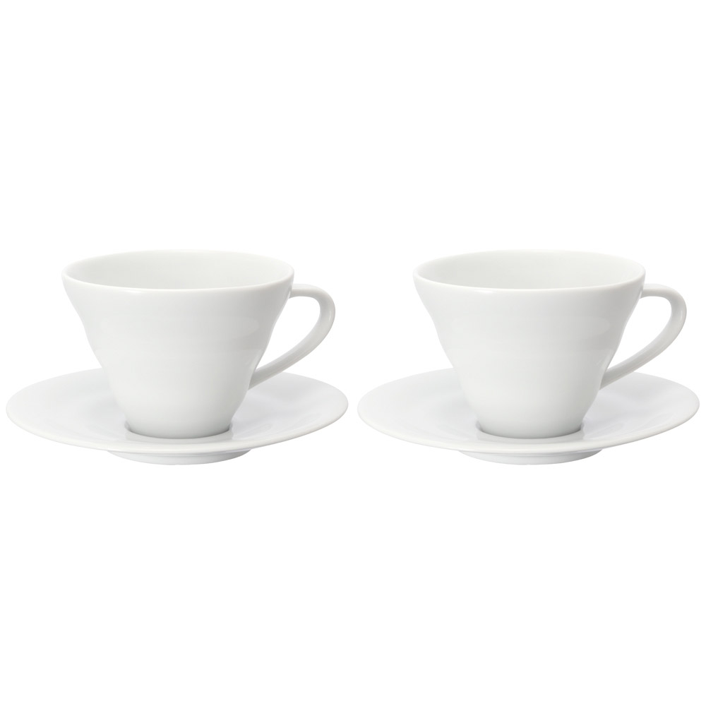 HARIO|V60白色雲朵咖啡杯盤組2入  CCS-5012W
