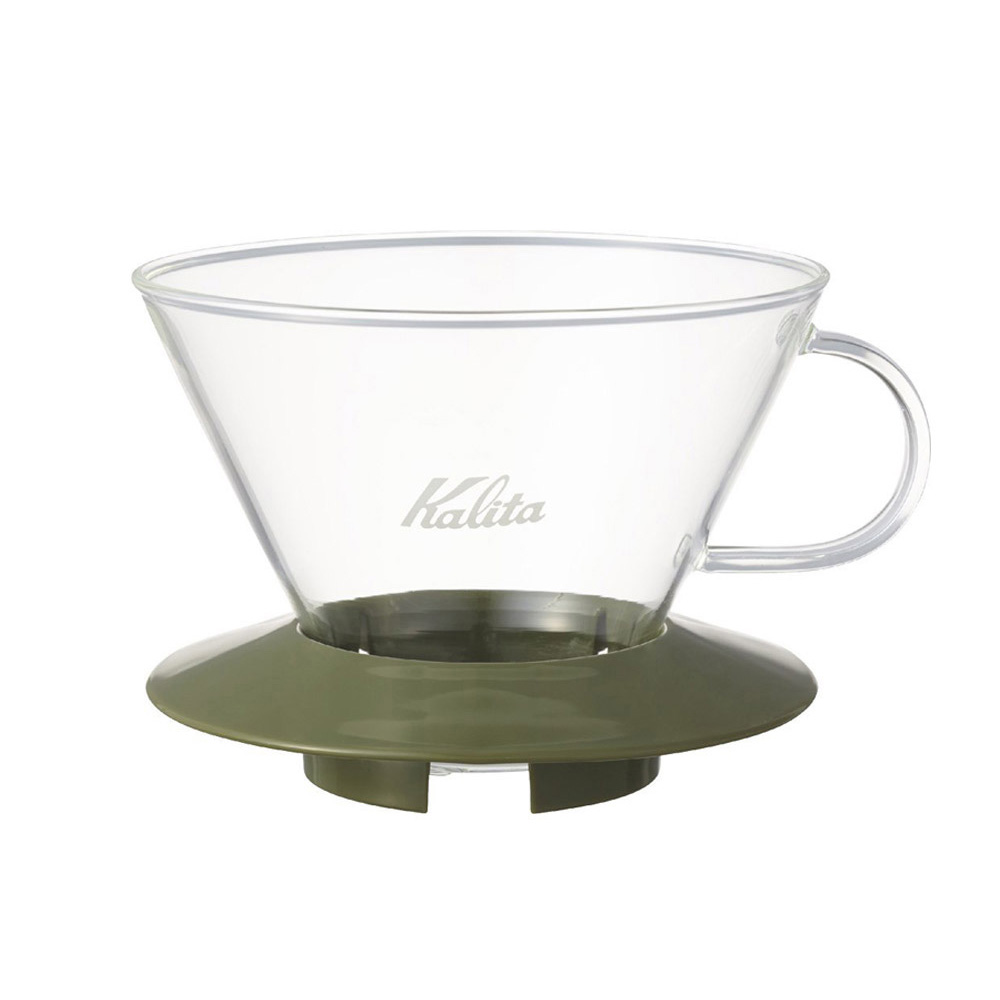 KALITA|185系列蛋糕型玻璃濾杯(迷彩綠)4人份 #05110
