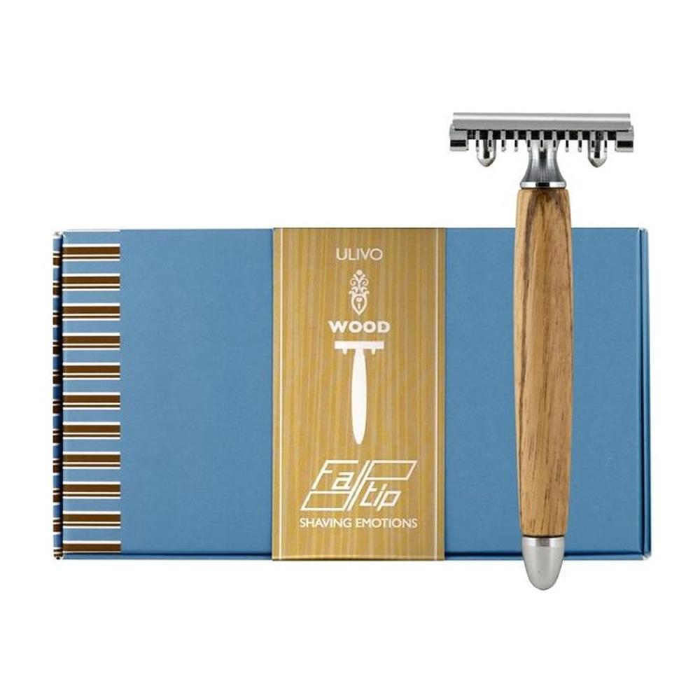 義大利 FATIP   42111 橄欖木柄安全刮鬍刀 開放刀頭