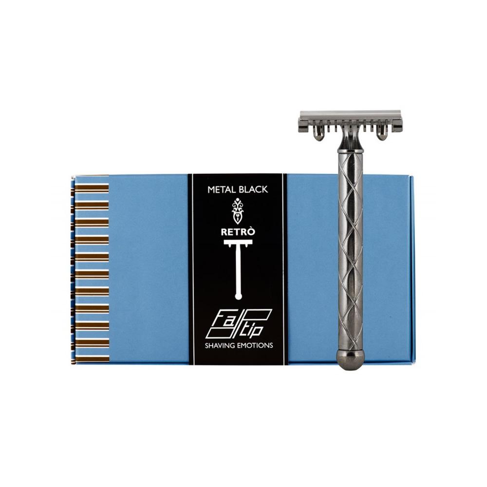 義大利 FATIP | 42117 復古安全刮鬍刀 黑 開放刀頭