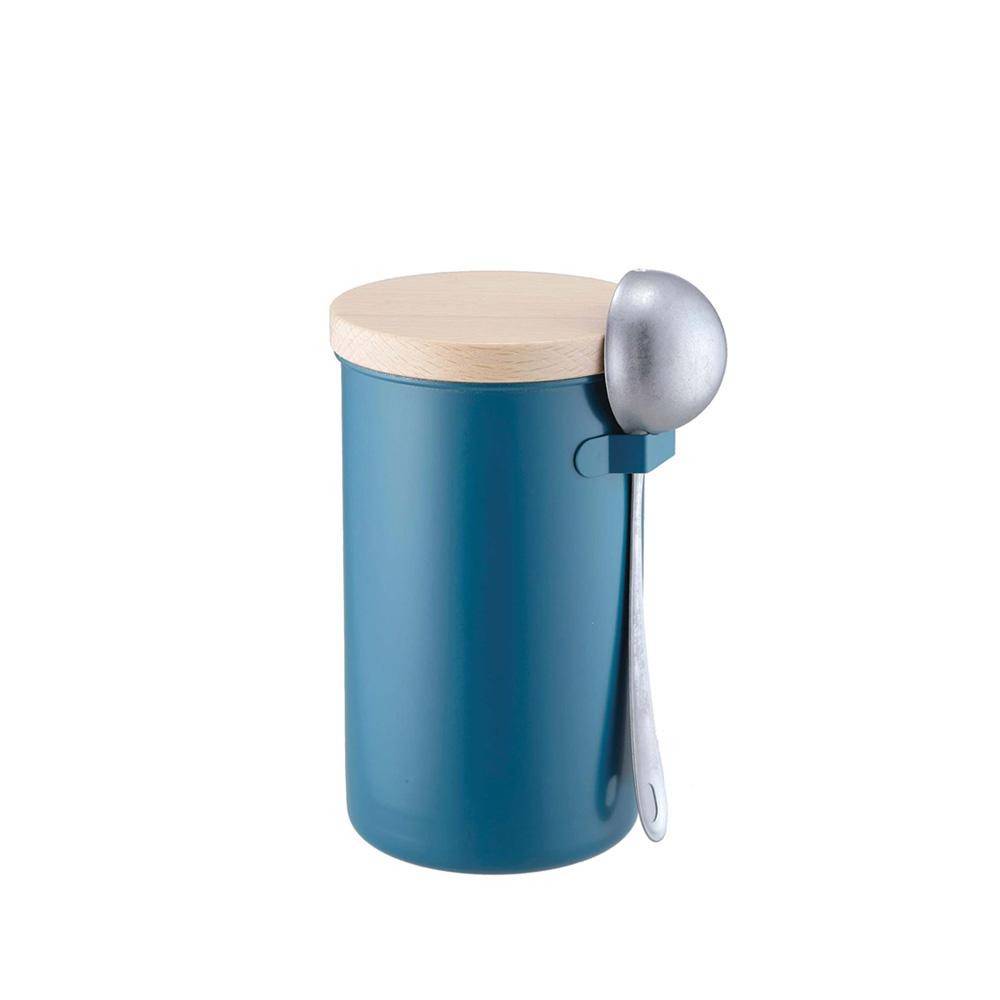高桑elfin|密封咖啡罐200g附勺組-藍