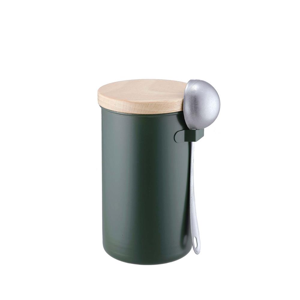高桑elfin|密封咖啡罐200g附勺組-綠