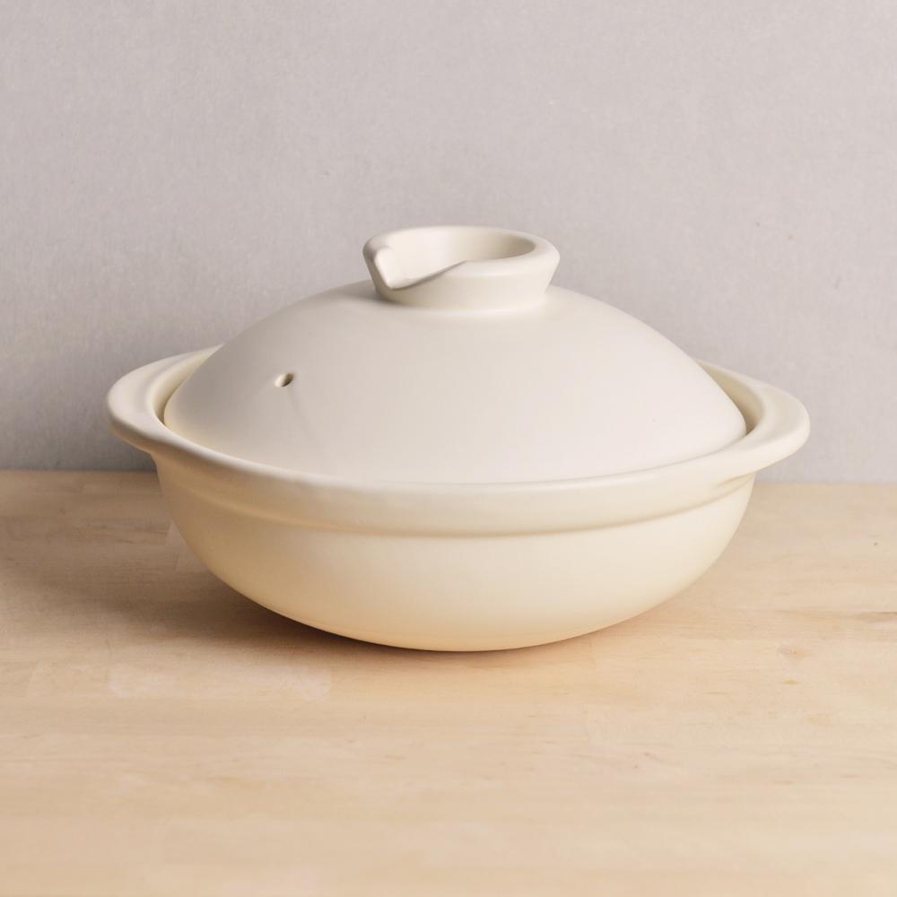日本TOJIKI TONYA|萬古燒燉煮土鍋2.4L(4-6人)-白