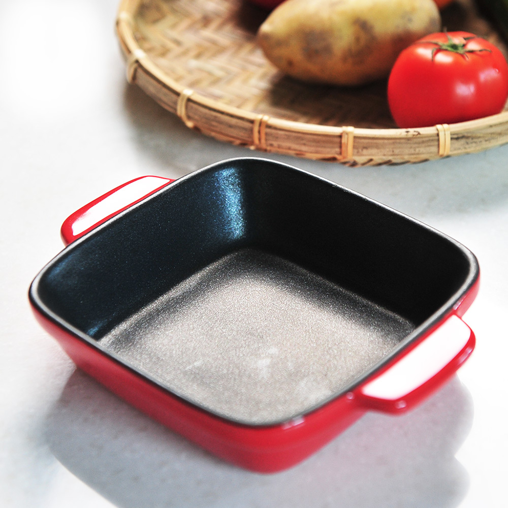 日本珍珠金屬|方形耐熱深形不沾焗烤盤-熱情紅14x14cm