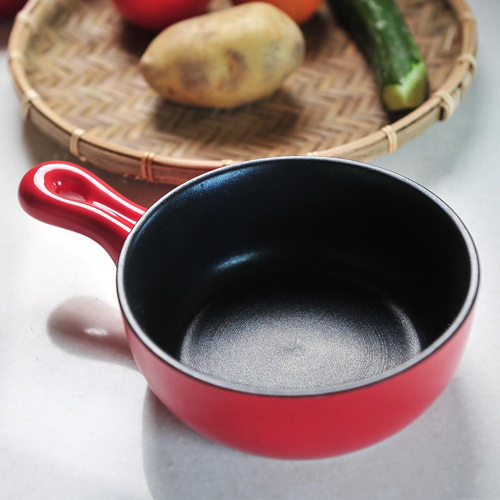 日本珍珠金屬 片手耐熱不沾焗烤鍋-熱情紅15cm
