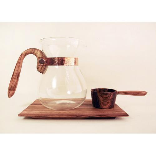 WM木合金|露・La Rosée木質手感咖啡壺組-經典款-1壺1匙1盤(斑馬木)