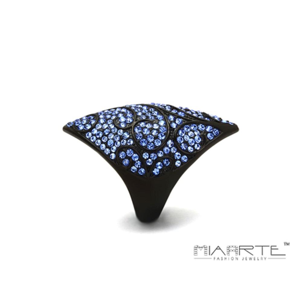 Miaarte 葉紋設計頂級水鑽漆黑戒指