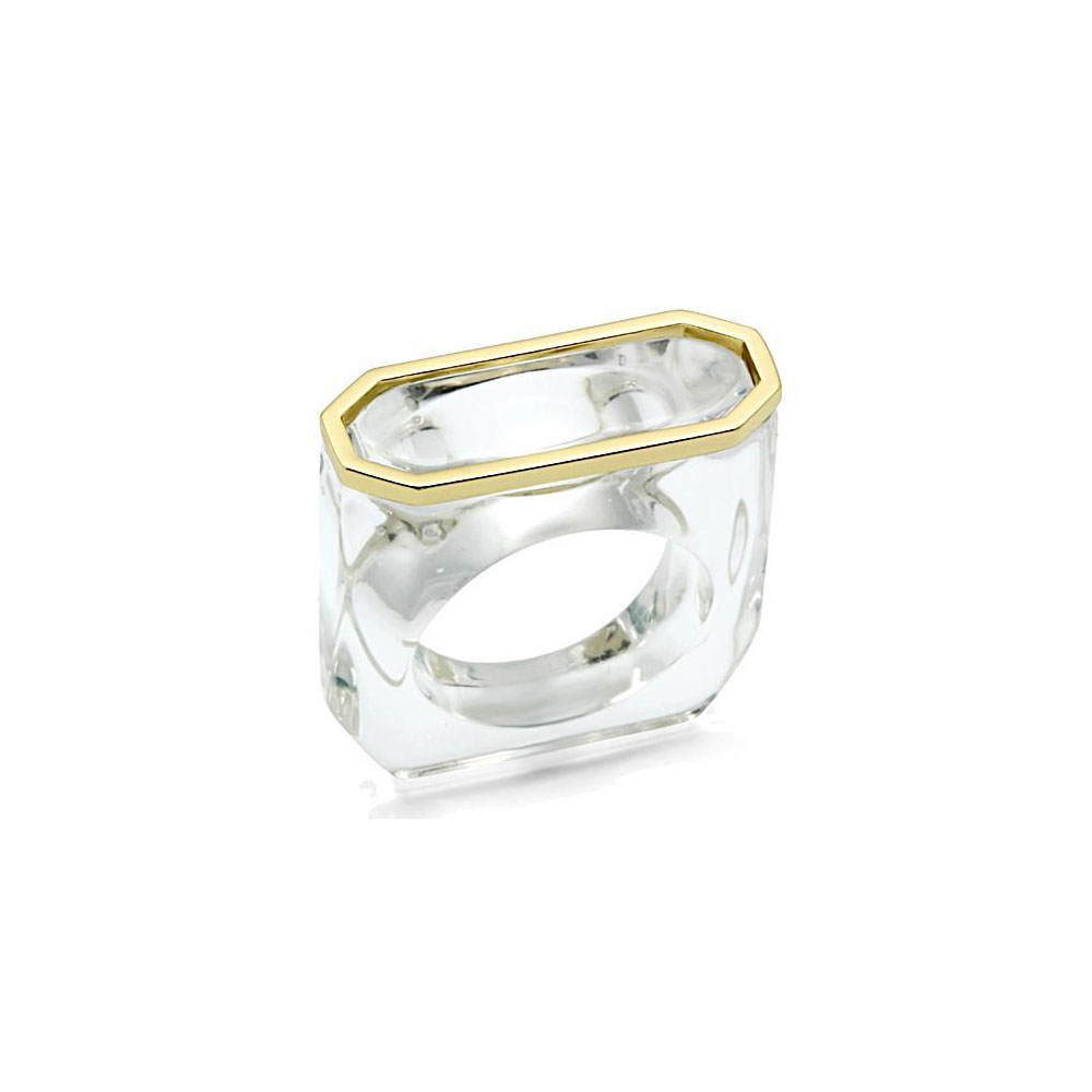 Miaarte 金屬鑲邊冰晶造型戒指