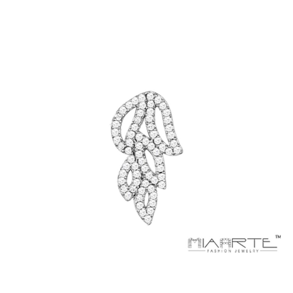 Miaarte 925純銀鋯石葉片垂飾耳環