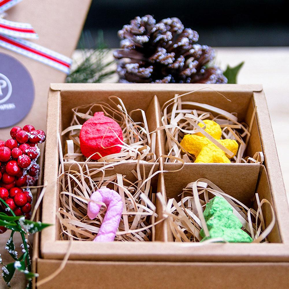 WOOPAPERS|聖誕限定禮物組~ 聖誕造型種子球(4顆裝) & 種子紙卡片