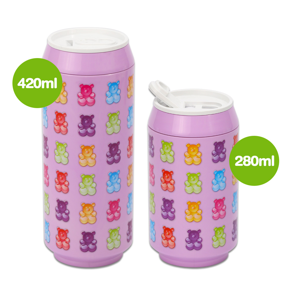 plastudio 玉米材質環保杯-Eco Can-280-軟糖熊-紫色
